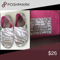 "Sanuk ""I'm game"" loafers Zebra print slip on summer loafers. Size 3 Sanuk Shoes Flats & Loafers"