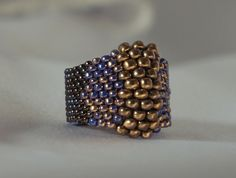 Peyote technique, blue purple gold ring