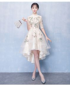 Beige Embroidered Qipao / Cheongsam Dress with High Low Hem : Beige Embroidered Qipao / Cheongsam Dress with High Low Hem Homecoming Dresses High Low, Unique Prom Dresses, Trendy Dresses, Beautiful Dresses, Short Prom, Party Dresses, Wedding Dresses, Frock For Teens, Dresses For Teens