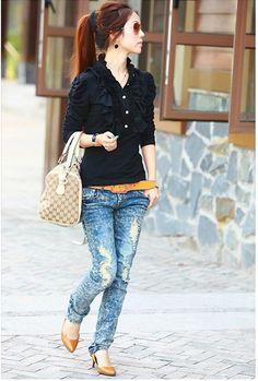 Women's Crumple Neckline Long Sleeves Tee - BuyTrends.com