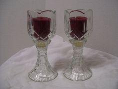 PAIR OF HOME INTERIOR HOMCO BLUE SWIRL ELEGANT GLASS TULIP CANDLE HOLDER VOTIVE