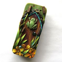 Frog Fairy Door Slide Top Tin, Sewing Needle Case , Polymer Clay Covered Tin, Magnetic Needle Case by Claybykim on Etsy