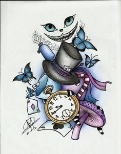 Would you look at this Alice ? Would you wonder further ? Would you look at this Alice ? Would you wonder further ? Cool Art Drawings, Art Drawings Sketches, Disney Drawings, Drawing Art, Arte Disney, Disney Art, Disney Ideas, Gato Alice, Alice And Wonderland Tattoos