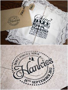 Save The Date Handkerchief.  What a great idea.  This entire wedding is beautiful!