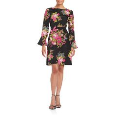 Betsey Johnson Floral Print Dress ($64) ❤ liked on Polyvore featuring dresses, black multi, long sleeve floral dress, fit and flare dress, flared skirt dress, fit flare dress and skater skirts