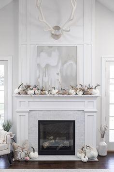 Living Room Decor Fireplace, Home Fireplace, Fireplace Remodel, Fireplace Surrounds, Fireplace Design, Home Living Room, Fireplace Ideas, Fall Home Decor, Autumn Home