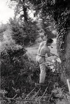 Felling trees at Rag, Galhampton, Somerset, c. 1940 - Emil Otto Hoppé