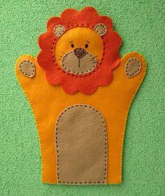 Fantoche de leão em feltro