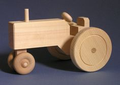 Jouet en bois grand tracteur