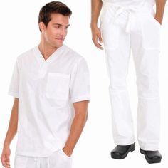 White Koi Men's Set in White consist of Set Consists of    Koi Jason Top with a Henley neckline, plenty of pockets: 2 side, 1 sleeve and 1 chest.  And Koi James Trousers that has a zip-fly drawstring close, an elasticated waistband, deep pockets and adjustable hem. £54.99  #dentalscrub #scrubset #malescrub #uniforms #medicaluniform #scrubs #whiteuniform