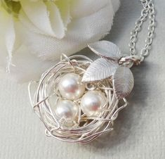 Sterling Silver Birds Nest With Three Leaves  by Kikiburrabeads, $22.50