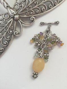 Yellow Beaded Pendant Necklace #117