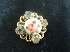 Antique Vintage Pin Brooch Gold Enamel Guilloche Flower Rose Ornate Rhinestones