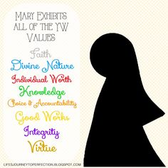 Young Women Christmas Activity: How Mary Exhibits all of the Young Women Values | Life's Journey To Perfection