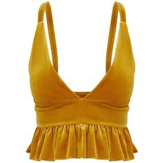 Mustard Velvet Frill Hem Crop Top (83 BRL) ❤ liked on Polyvore featuring tops, velvet top, ruffle hem top, crop tops, cut-out crop tops and mustard top
