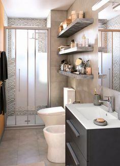 ¡Gana espacio en un baño estrecho! #idea                              …