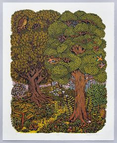 """From 2010 (#tbt), the 20"""" x 16"""" five block """"FOREST"""" woodcut. Edition of 200 prints, now long sold out. A real favorite! Our new """"OVERLOOK"""" woodcut is like this times 6. #art #woodcut #woodblock #printmaking"""