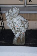 Vintage Concrete Putti Cherub Cement Sculpture Lawn Statue 3 Foot Putto Child