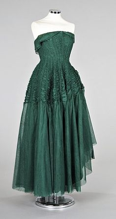Jeanne Lanvin emerald green tulle ball gown, Summer 1949