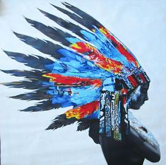 47 Huge not banksy native american indian chief feather