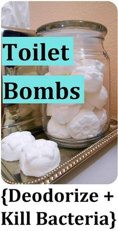 Toilet Bombs - Deodorize & Kill Bacteria! Just Drop One in the Bowl!  WHAT I USE: (for approx. 12 bombs) --2/3 cup Baking Soda - amazing for all-natural cleaning AND deodorizing! --1/4 cup Citric Acid - (low-strength acid that exists naturally in fruits like lemons & oranges) - used in many kitchen & bathroom cleaners for its cleaning, whitening & deodorizing properties --30 drops Lavender Essential Oil* --30 drops Peppermint Essential Oil* --30 drops Lemon Essential Oil* --Medical Mask