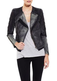 C. LUCE Khaki Moto Jacket with Sleeve Details