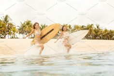 Ad: Beautiful girls with surf in ocean. by nikkolia on Two beautiful happy surfing girl running into the sea waves with lot of sparks with big shortboard surf surfboard board on sunrise or Billabong Bikini, Snowboard Girl, Surfer Girl Style, Skateboard Girl, Vintage Swimsuits, Sea Waves, Girl Running, Sports Photos, Surf Girls