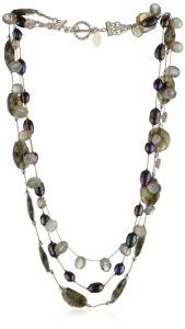 Margo Morrison New York Faceted Labradorite, Grey Pearl Combo Triple Strand Necklace  http://electmejewellery.com/jewelry/necklaces/strands/margo-morrison-new-york-faceted-labradorite-grey-pearl-combo-triple-strand-necklace-com/