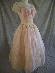 Vintage 50s Pink Taffeta Flocked Organza Sheer Bodice Full Skirt Party Dress S M