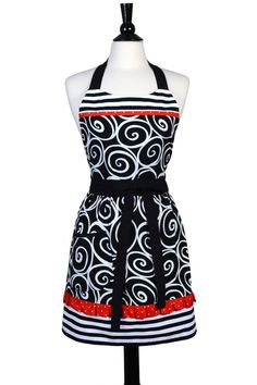 Women's Cute Retro Apron in Classic Black and White Swirls and Stripes with Red Polka Dot Ruflfes and Trim - FREE SHIPPING by ApronsbyFiFi on Etsy