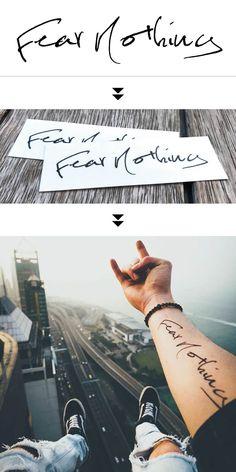Benutzerdefinierte temporäre Tattoos von TOOD - Fear Nothing to make temporary tattoo crafts ink tattoo tattoo diy tattoo stickers Tattoo Sleeve Designs, Tattoo Designs Men, Sleeve Tattoos, Small Tattoos For Guys, Cool Small Tattoos, Word Tattoos, New Tattoos, Fake Tattoos, Tatoos