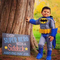 Super Hero Pregnancy Announcement Chalkboard Poster Printable Every SuperHero Needs a Sidekick Photo Shoot Photo Prop Chalk Board by PersonalizedChalk