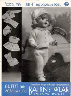"Knitting Pattern Vintage Doll's Clothes Lumber Jacket Leggings Cap Dress Vest & Pilch To Fit 20-21"" Dolls PDF Instant Download"