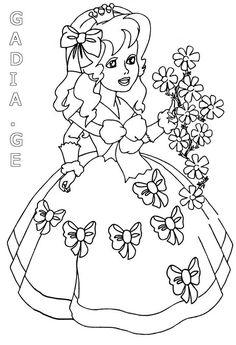 Difficult Coloring Pages For Adults - Bing Images Princess Coloring Pages, Coloring Pages For Girls, Coloring For Kids, Colouring Pages, Coloring Books, Hand Embroidery Patterns, Embroidery Stitches, Vintage Embroidery, Human Drawing