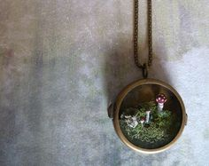 Moss Terrarium Woodland Mushroom Brass Locket Necklace Toadstool Wonderland. $125.00, via Etsy.
