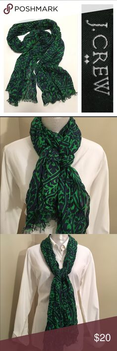 """J. Crew Navy & Green Scarf Used only a few times. Looks new. 23""""x 69"""" long. Kelly green and navy blue in color. Wrinkled design. J. Crew Accessories Scarves & Wraps"""