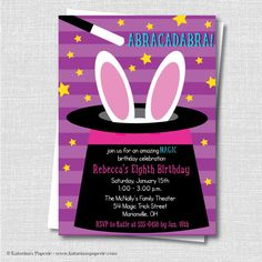 Announce a fun magic show for your childs next birthday celebration with our girl magic birthday party invitation. Each invitation features a