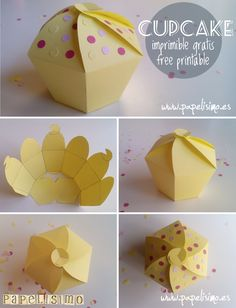 "Free printable cupcake box template.  Think of it as a cupcake-shaped regular box that I can decorate.  But if I want, I could put a cupcake or muffin in it (the top could be made bigger if the icing won't fit).  Click on the big letting at the bottom that says ""aqui"".  There are also links to a pyramid shaped box and a house shaped box."