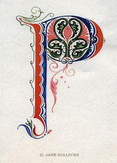 Celtic Pattern fantasy fonts calligraphy Illuminated P Jane SullivanIlluminated P Doodle Lettering, Creative Lettering, Hand Lettering, Celtic Symbols, Celtic Art, Calligraphy Letters, Typography Letters, Illuminated Letters, Illuminated Manuscript