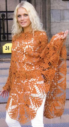 Crochet Poncho in squares. Visit site for the diagrams