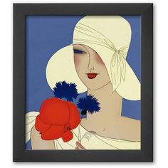 Art.com Art Deco Lady with a Large Red Flower Framed Art Print (215 PEN) ❤ liked on Polyvore featuring home, home decor, wall art, soho thin, wooden home decor, wood home decor, handmade home decor, wood wall art and framed wall art
