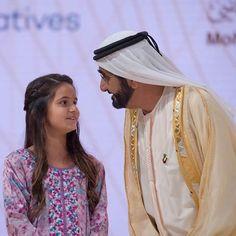 Al Jalila bint Mohammed bin Rashid Al Maktoum y su padre, Mohammed bin Rashid bin Saeed Al Maktoum, 14/01/2016. Vía: khalifasaeed