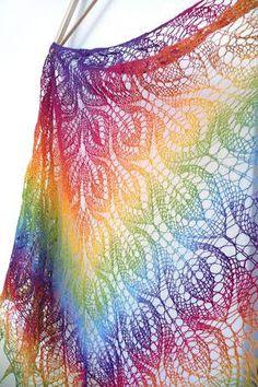 Knit Rainbow triangular shawl, hand knit shawl, Ready To Ship. $90.00, via Etsy.