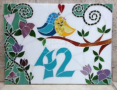 Mosaic Artwork, Mirror Mosaic, Mosaic Glass, Glass Art, Mosaic Animals, Mosaic Birds, Mosaic Crafts, Mosaic Projects, Ceramic House Numbers