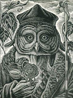 Alchemist - Wood Engraving by Mitsuru Nagashima