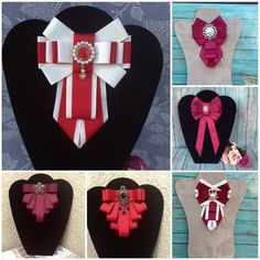 Bow ties different styles Ribbon Jewelry, Ribbon Art, Fabric Ribbon, Fabric Jewelry, Ribbon Crafts, Ribbon Bows, Ribbons, Goth Hat, Bow Tie Collar