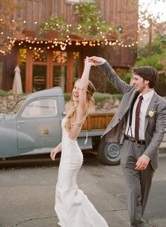 Playful wedding photography from Christina McNeill.  Barndiva, Healdsburg wedding photographed on film.  Bride and groom dancing, happiness!
