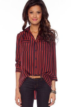 Striped In Blouse in Burgundy and Navy $42 at www.tobi.com