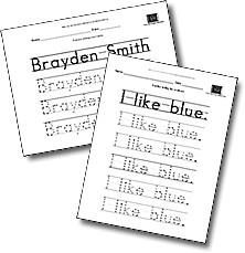 Type in any word(s) and this website will generate handwriting worksheets.