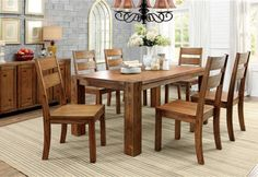 Frontier Rustic Dark Oak Solid Wood Dining Table